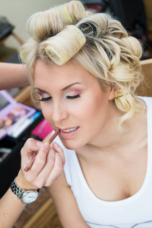 beautiful bride close up airbrush makeup